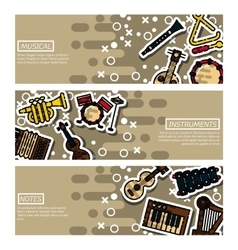Set of Horizontal Banners musical instruments vector image