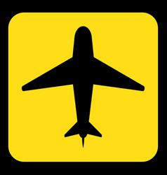 yellow black information sign - airliner icon vector image