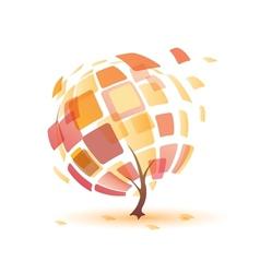 autumn tree abstract icon vector image