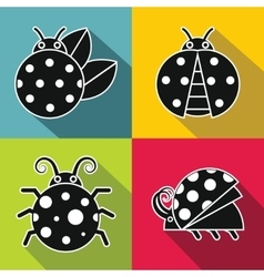 Black ladybug with white stroke on color vector image vector image