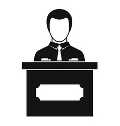 businessman giving presentation icon simple style vector image