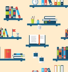 Seamless Texture with Books on Bookshelves vector image vector image
