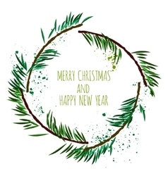 White card with minimalistic christmas wreath and vector