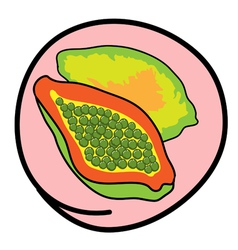 Fresh Ripe Papayas on Round Pink Background vector image vector image