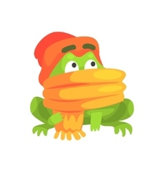 Green frog funny character wearing scarf and hat vector