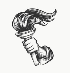 human hand with torch engraving vector image