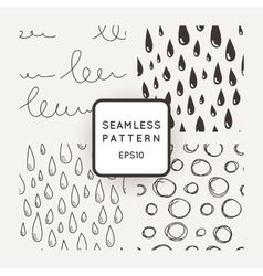 Set of seamless patterns with scribbles and vector image vector image