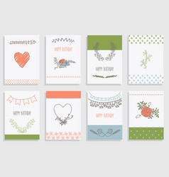 set of template design for greeting card vector image