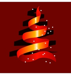 stylized christmas tree made of red ribbon vector image vector image