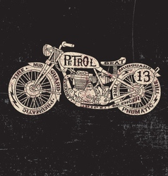 Text Filled Vintage Motorcycle vector image vector image