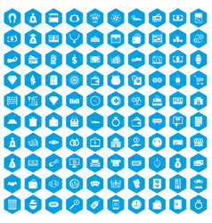 100 money icons set blue vector image
