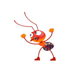 A cute ant character in fighting pose screams vector