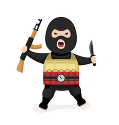 Angry terrorist modern flat style vector