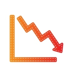 Arrow pointing downwards showing crisis Orange vector