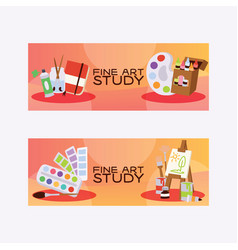 art studio studying in art-school with artist vector image
