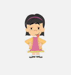 Asian girl in waiting attitude with funny vector