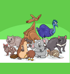 Australian animals group cartoon vector