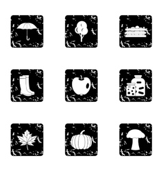 Autumn coming icons set grunge style vector