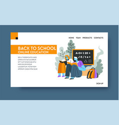 back to school online education and learning vector image