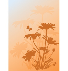 background with silhouettes daisies vector image