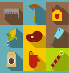 barbecue icon set flat style vector image