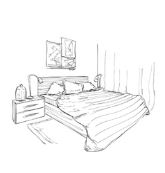 Bedroom modern interior sketch vector