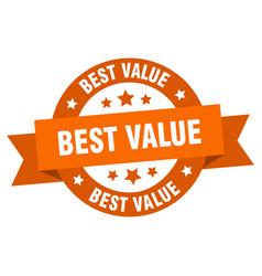 Best value ribbon best value round orange sign vector