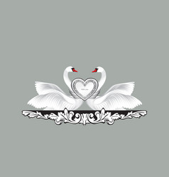 birds in love with floral decoration couple of vector image