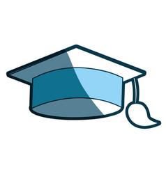 Blue silhouette of graduation cap vector