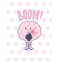 Boom brain poster vector image vector image