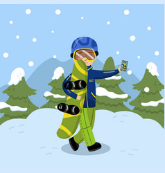 boy with snowboard making selfie on background of vector image