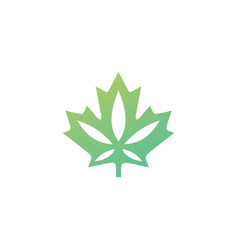 canadian cannabis logo icon for hemp leaf vector image