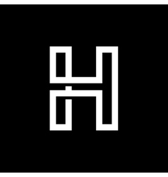 Capital letter H From the white interwoven strips vector
