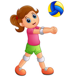 cartoon girl playing volleyball on a white backgro vector image