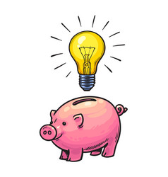 cartoon piggy bank and glowing light bulb symbol vector image