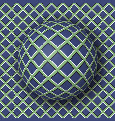 Checkered ball rolling along the checkered surface vector