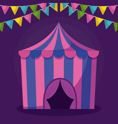 circus tent with garlands isolated icon vector image