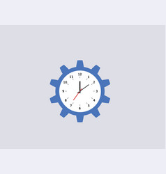Cogwheel clock blue gear circle with dial vector