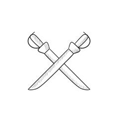 Crossed saber sketch icon vector image