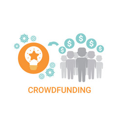 Crowdfunding crowdsourcing business resources idea vector