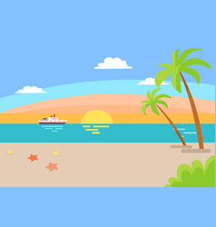 cruise ship sailing ocean summer beach landscape vector image