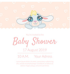 cute bashower invitation card template vector image