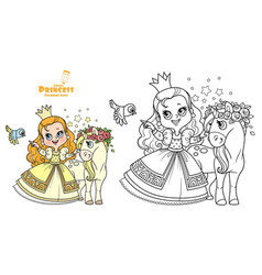 Cute princess in yellow dress with cure unicorn vector