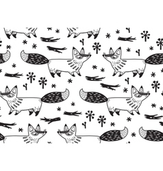 Cute seamless pattern with fox vector