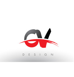 Cv c v brush logo letters with red and black vector