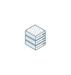 data center server isometric icon 3d line art vector image