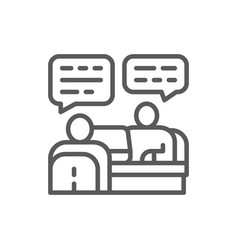 Discussion project with customer line icon vector