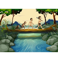 Evolution of man at the river vector