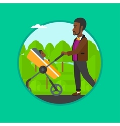 Father walking with his baby in stroller vector