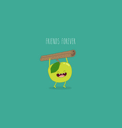 Flat cute and funny green apple fruit set in vector
